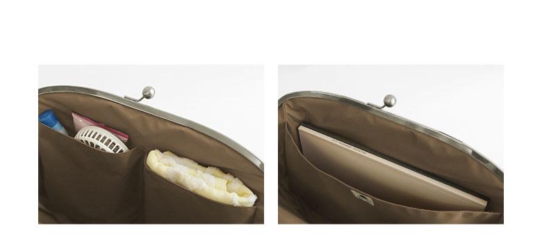 がま口痛バッグ glossy POINT 前面には大きめの内ポケットが2つあり、ハンディファンやタオルを収納できます。背面の内ポケットは全面になっているので、写真集など汚したくないものを分けて入れられます。本体裏側にはA4サイズが入る外ポケットつき。