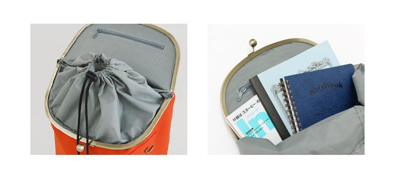 がま口SHOIKOリュック 上部の巾着仕様見せ A4サイズが楽々収納できるバックパック