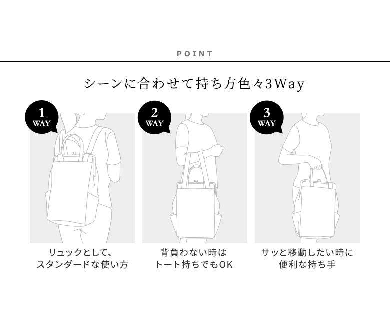 がま口トートリュック(旧型) 綿布 ヒッコリー・帆布 迷彩柄 POINT シーンに合わせて持ち方色々3Way。 01-リュックとして、スタンダードな使い方。02-背負わない時はトート持ちでもOK。03-サッと移動したい時に便利な持ち手。