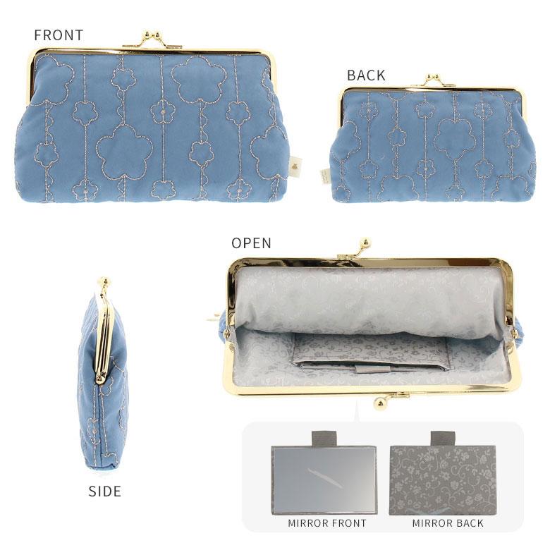 フラワーキルト 6寸がま口平ポーチ(鏡付き) DETAILイメージ画像