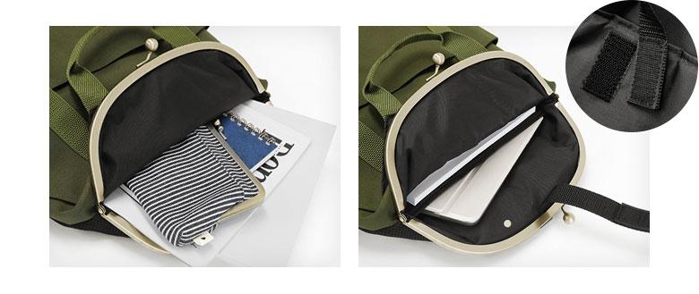AYANOKOJI Sarei くし型がま口リュック メイン収納部にはA4が楽々入り、背面側には13インチ程のノートパソコンが入るPCポケット付き。