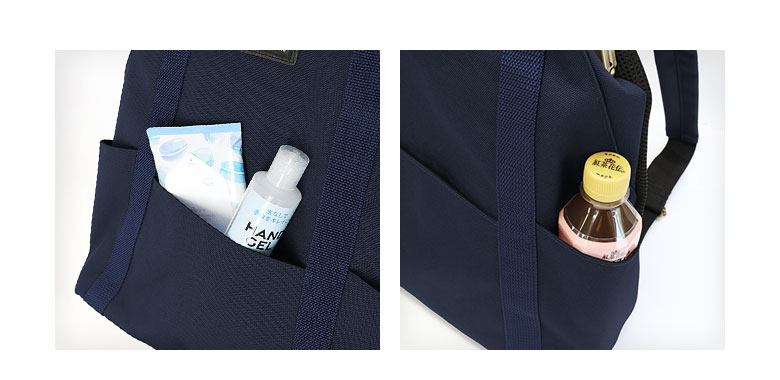 AYANOKOJI Sarei くし型がま口リュック 正面には大小のオープンポケット付き。サイドポケットにはペットボトルなどを入れておいても◎