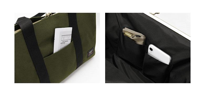 AYANOKOJI Sarei がま口スクエアトートバッグ(L) 前面には少し深さのあるポケットがあり、観光マップなど、 出し入れが多い物を入れておきたい時に便利です。 また、メインのがま口内部には内ポケットがあるので 鍵などの小物を収納しておけます。