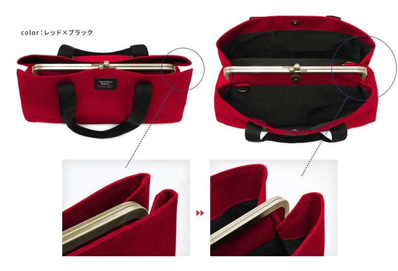 AYANOKOJI Sarei がま口スクエアトートバッグ(M) あおりポケットとはメイン収納部の両面についたオープンポケットの事。開口部が大きく開く秘密は、サイドに切り込みがあり、折りたたまれたジャバラのような構造になっているから。
