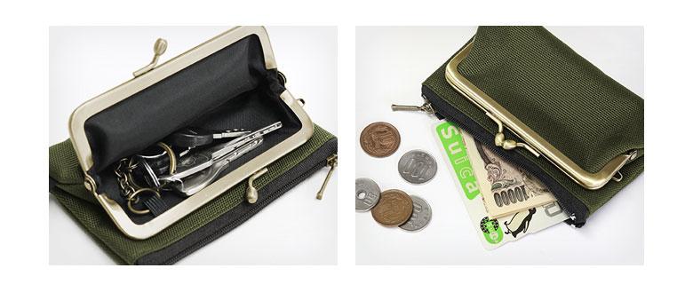 AYANOKOJI Sarei がま口キーコインケース POINT 小さくてもそこそこ入る、絶妙なサイズ感。キーリング付きのがま口には程よい厚みがあり、鍵を複数付けても余裕のある収納力。スマートキーなど、厚みのある鍵もすっぽり入ります。ファスナー部には小銭やカード類、3つ折りにしたお札が入ります。