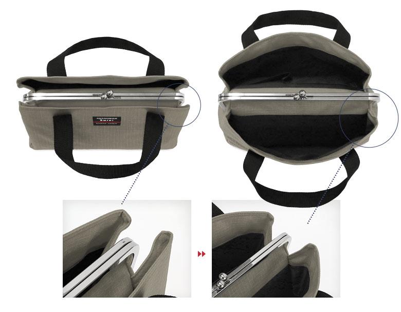 AYANOKOJI Sarei がま口スクエアトートバッグ(S) 大きく開いて使いやすい「あおりポケット」の説明