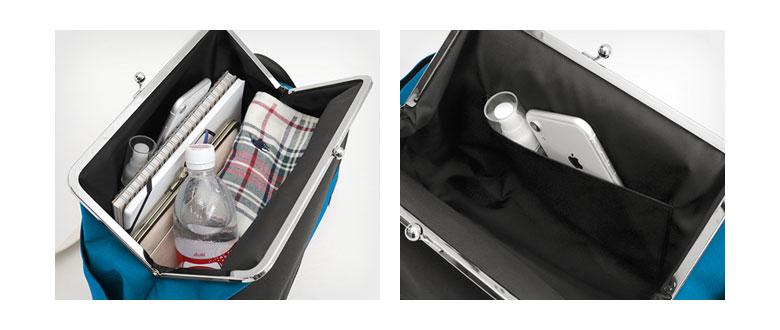 AYANOKOJI Sarei がま口スクエアワンショルダーバッグ POINT 真ん中のがま口は長財布が入るほどの幅があり、内ポケット付きで、貴重品や小物を入れておくのにも安心です。がま口の底部は縫い付けていないので、荷物の大きさによって前後に寄せられます。