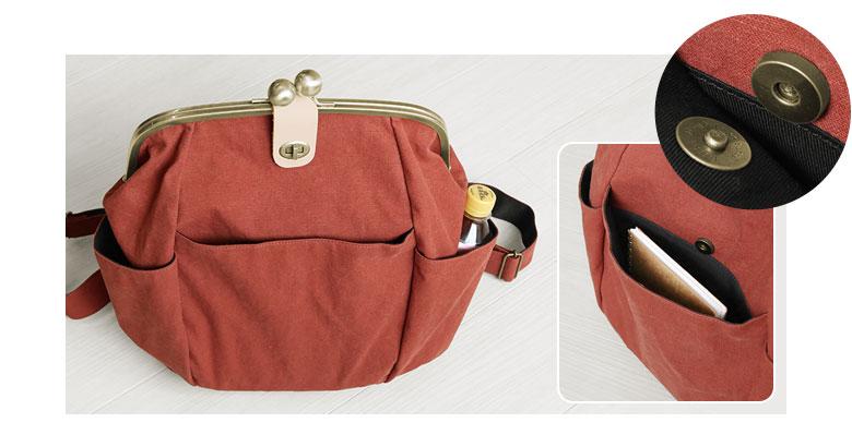 がまぽちゃリュック ヴィンテージダック POINT 両サイドのオープンポケットはペットボトルがすっぽり入る大きさがあります。真ん中の外ポケットはB6サイズが収まり、マグネットホック付きで安心。