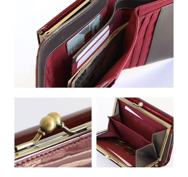 AYANOKOJI X(あやの小路 イックス) 折りたたみがま口財布 メタリックエナメル(本革) 色展開 商品詳細ディティール