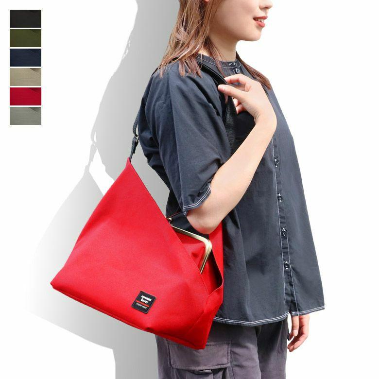 がま口スクエアワンショルダーバッグ【Sarei コーデュラ(R)Eco Fabric】