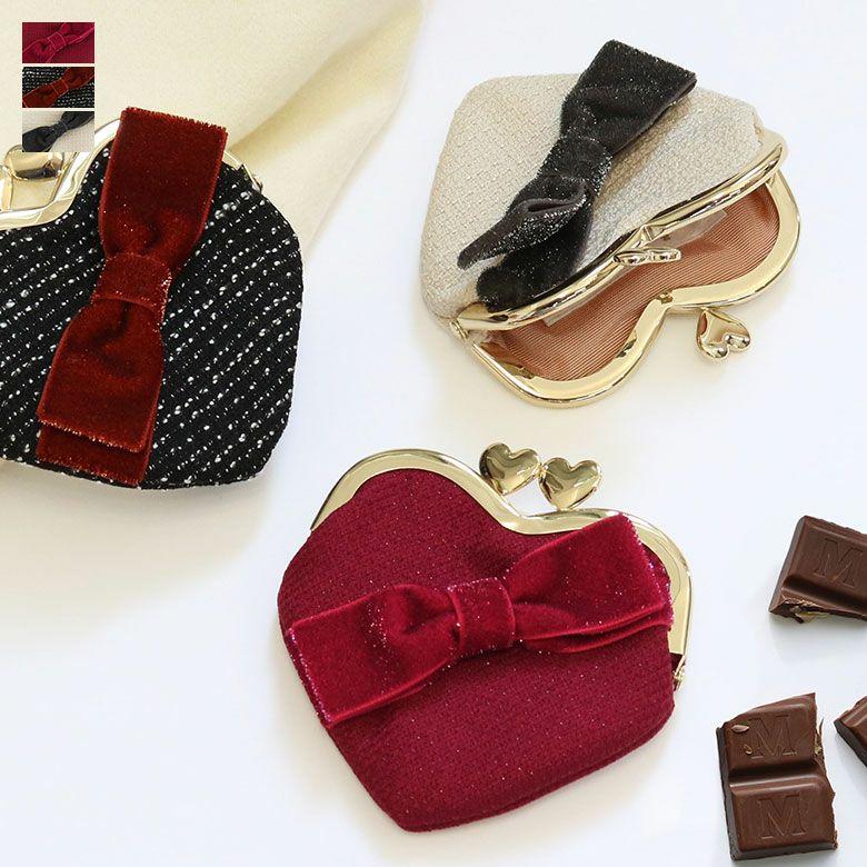 ラメハートリボン シリーズ ハート型がま口財布 メインイメージ