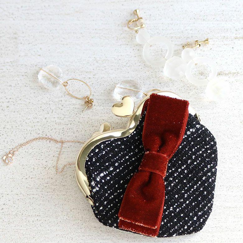 ラメハートリボン シリーズ ハート型がま口財布 アクセサリー入れのイメージ