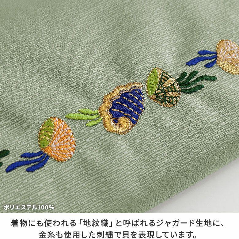 AYANOKOJI 海松貝文様鬘帯(みるがいもんようかづらおび) 鏡付きがま口リップケース 生地アップ MATERIAL 着物にも使われる「地紋織」と呼ばれるジャガード生地に、金糸も使用した刺繍で貝を表現しています。