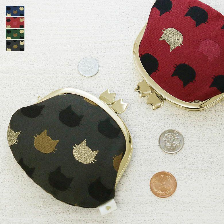 AYANOKOJI にゃんこジャガード 3.3寸がま口財布 メインイメージ
