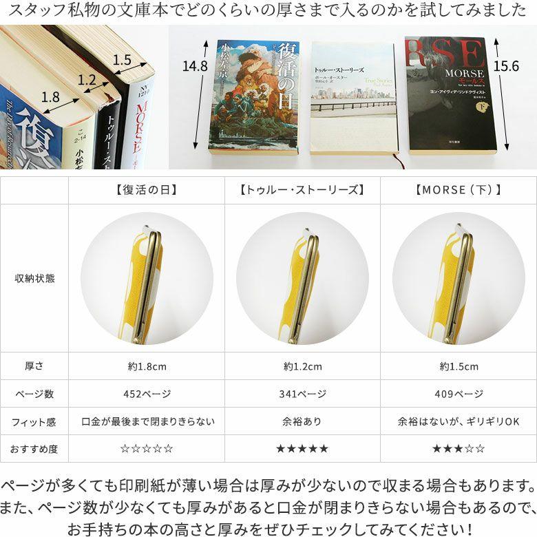 AYANOKOJI ステッチデニム がま口ブックカバー どのくらいの厚さの本が入るのか試してみました。