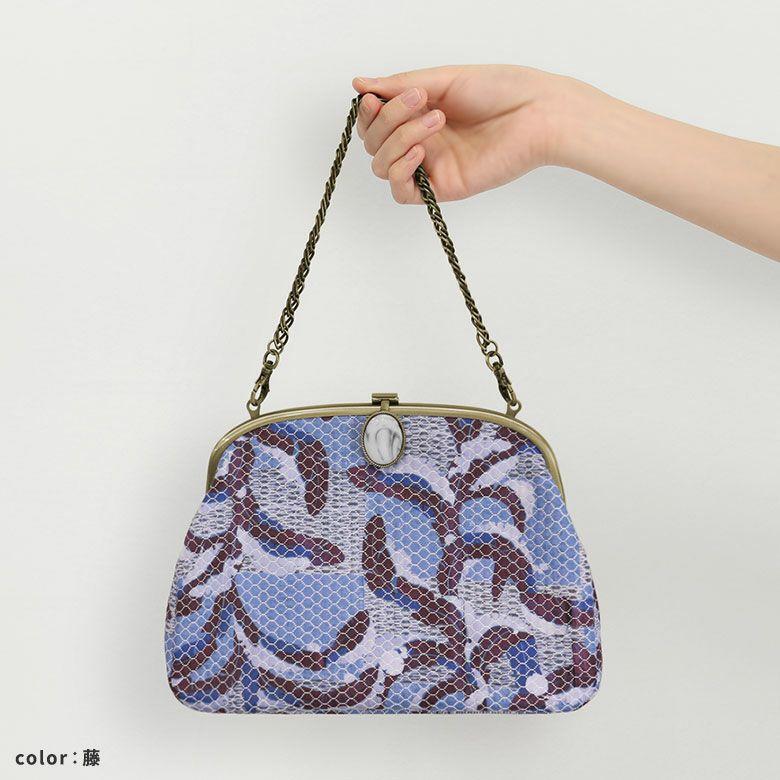 AYANOKOJI 段片身替りに雪持芭蕉文縫箔(だんかたみがわりにゆきもちばしょうもんぬいはく) 2WAYがま口ミニバッグ コーディネートに合わせて2WAYで使えるミニバッグ。