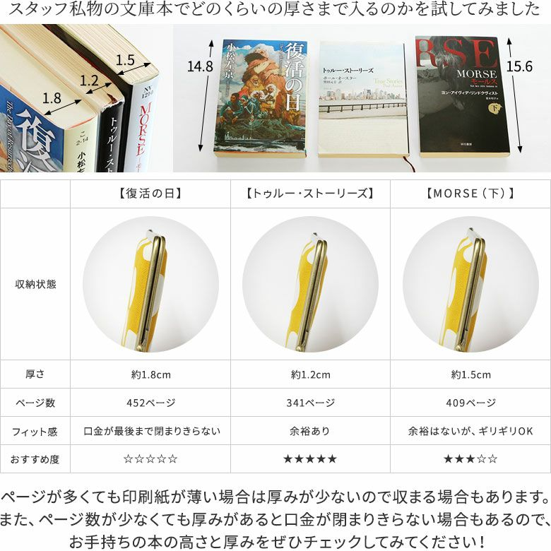 AYANOKOJI 彩モダン  ページが多くても印刷紙が薄い場合は厚みが少ないので収まる場合もあります。また、ページ数が少なくても厚みがあると口金が閉まりきらない場合もあるので、お手持ちの本の高さと厚みをぜひチェックしてみてください!