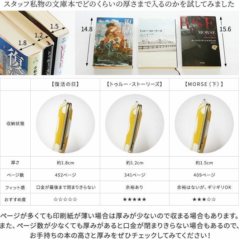 AYANOKOJI 綾市松 がま口ブックカバー 使用例 スタッフ私物の文庫本でどのくらいの厚さまでが入るのかを試してみました。