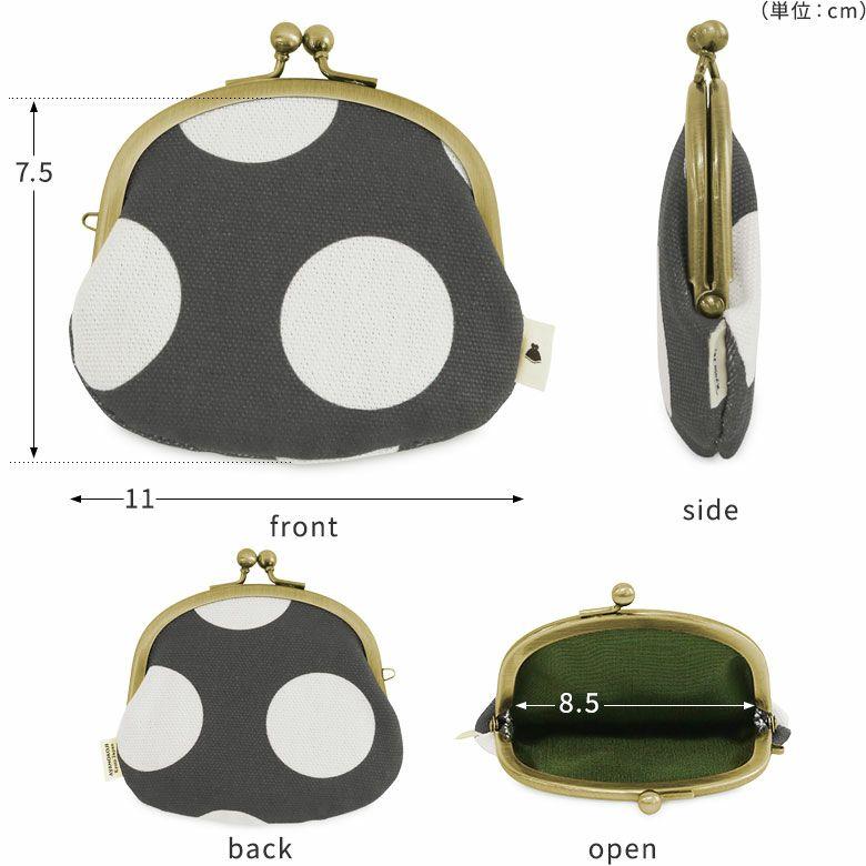 AYANOKOJI  3.3寸がま口財布 サイズ ディティール 大きさ 表 裏