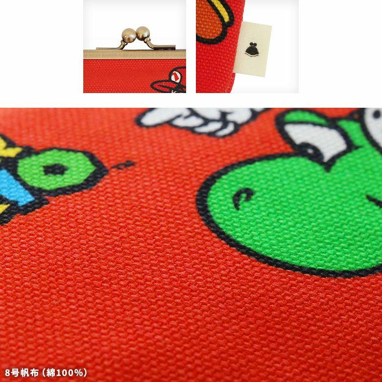 AYANOKOJI パルコ×スーパーマリオ コラボアイテム 6寸がま口平ポーチ ディティール 口金 タグ 生地 綿100% 8号帆布
