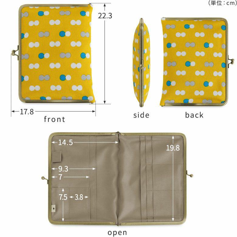 AYANOKOJI 帆布 にこだま柄 ブックカバー型がま口多機能ケース B6 360ページ対応 ディティール見せ front side back open
