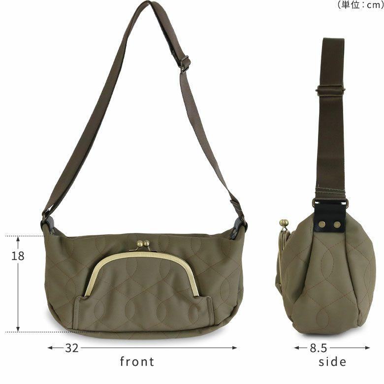 AYANOKOJI キルティング くし型がま口ポケット付きショルダーバッグ サイズ詳細画像