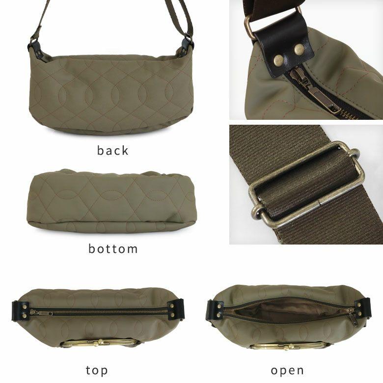 AYANOKOJI キルティング くし型がま口ポケット付きショルダーバッグ サイズ詳細画像 各パーツアップ