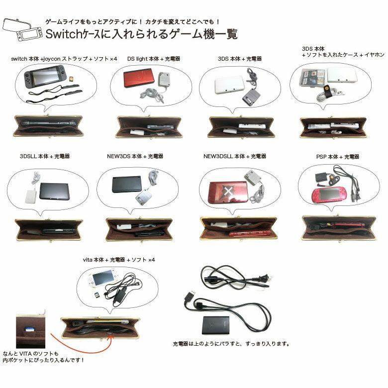 AYANOKOJI キルティング がま口お散歩ポシェット switchケースに入れられるゲーム機一覧