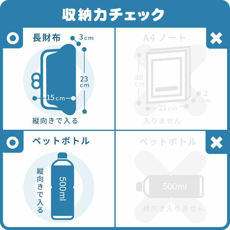 AYANOKOJI マットツイル 縦型がま口ボディバッグ 収納力チェック画像